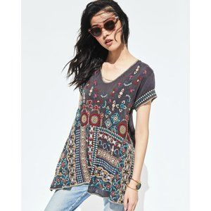 Johnny Was Madhuri Embroidered Boho Blouse Top